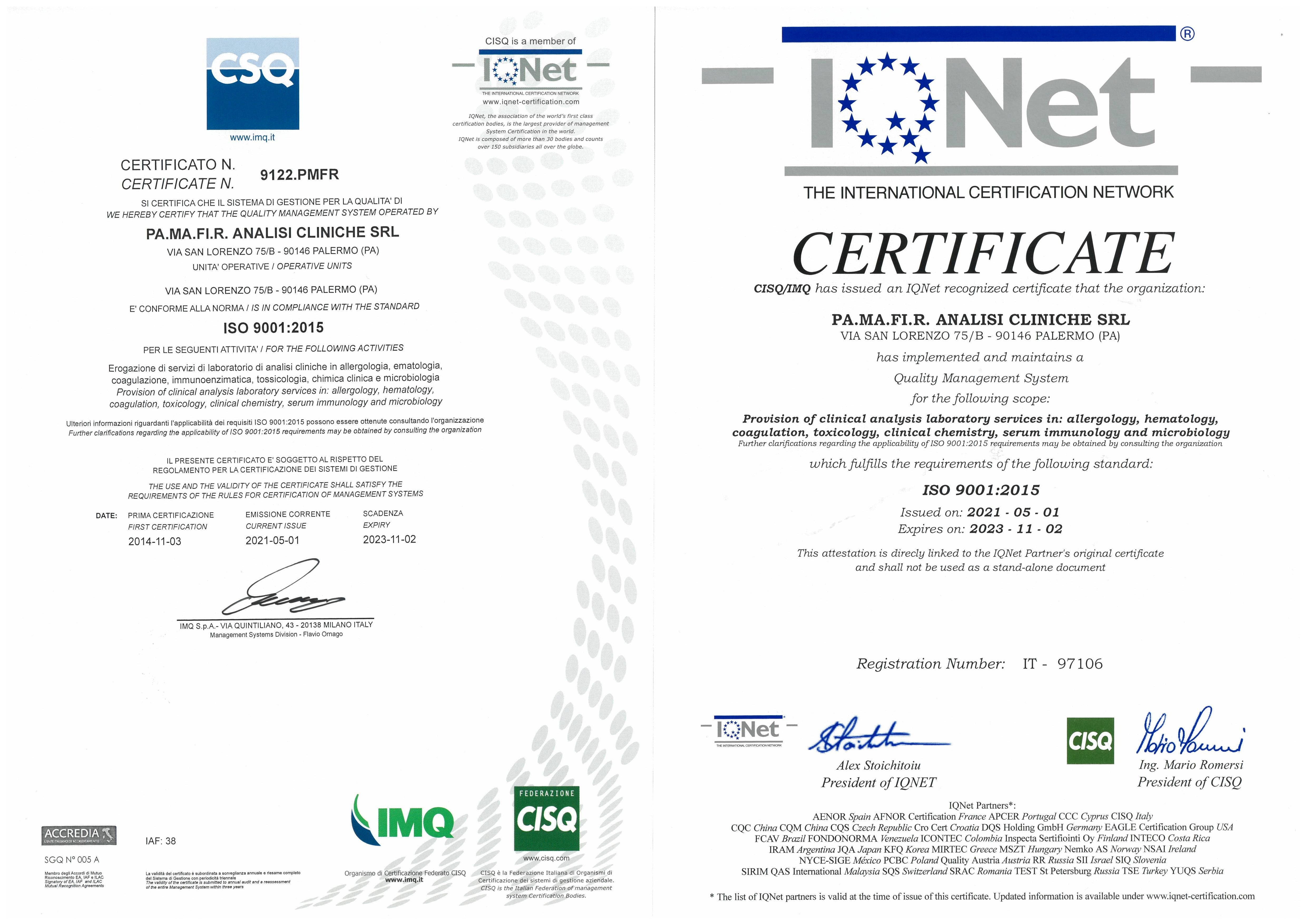 Certificato CSQ Analisi Cliniche 2021
